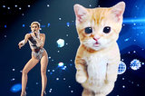 Fresh from celebrating her 21st birthday, Miley Cyrus wowed at the American Music Awards in LA by singing in sync with a giant digital cat behind her.