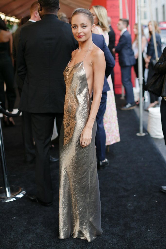 Nicole Richie's metallic slip dress would make the most elegant party dress.