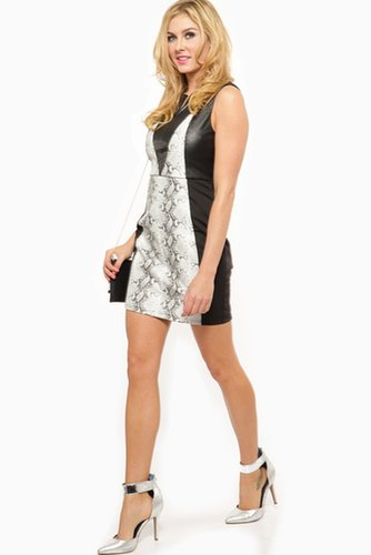 Reptile Print Contrast Dress @ Cicihot sexy dresses,sexy dress,prom dress,summer dress,spring dress,prom gowns,teens dresses,sex