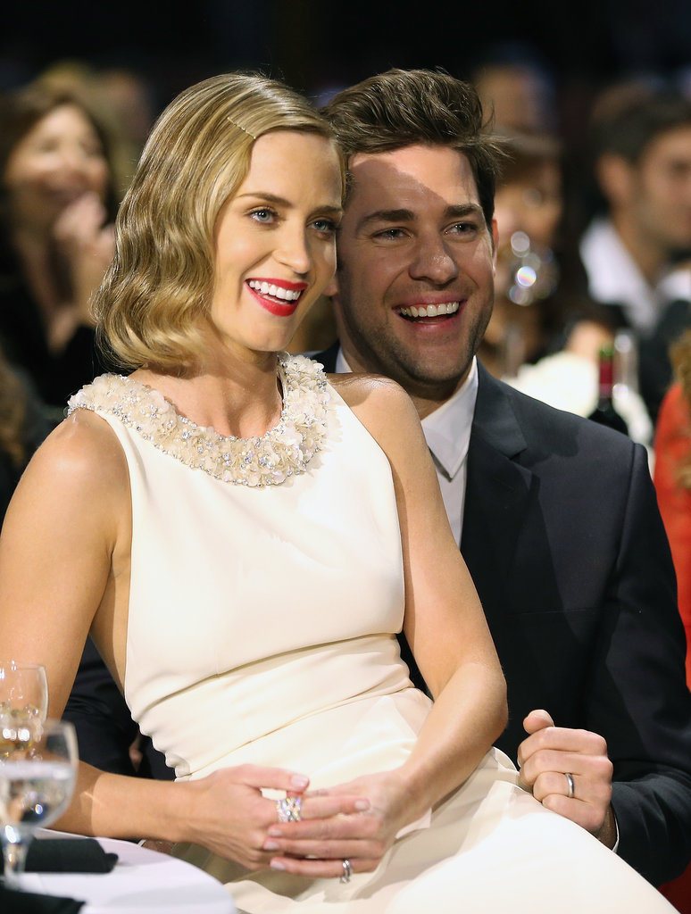 Emily Blunt sat on John Krasinski's lap during the 2013 Critics' Choice Awards in January.