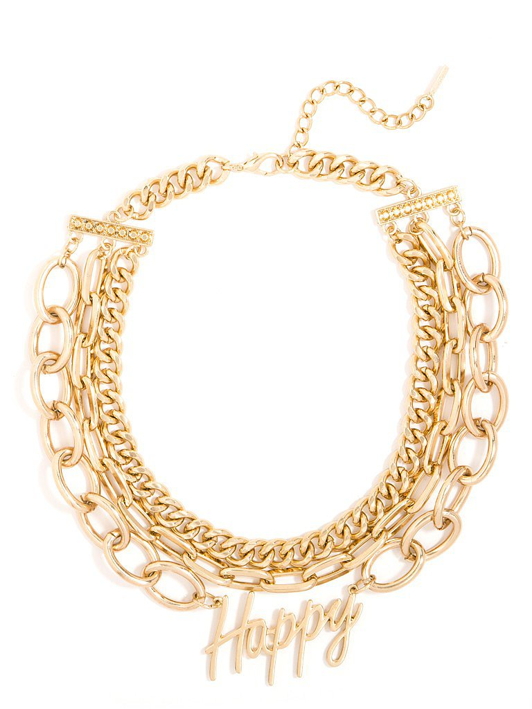 "What better way to declare ""Happy New Year"" than with a gold multichain statement necklace that basically shouts the sentiment along with you? I don't even have my NYE dress picked out, but I know I'll be getting one to match BaubleBar's ""happy"" text collar ($40). — KS"