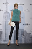 For something more casual, take a page out of Karlie Kloss's book and add seasonal texture with sleek trousers.