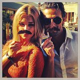 Anna and Tim got into the spirit of Movember with their Anchorman 2 premiere entry passes. Source: Instagram user mrtimrobards