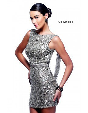 2014 Sherri Hill 4800 Draped Sequined Dress Silver