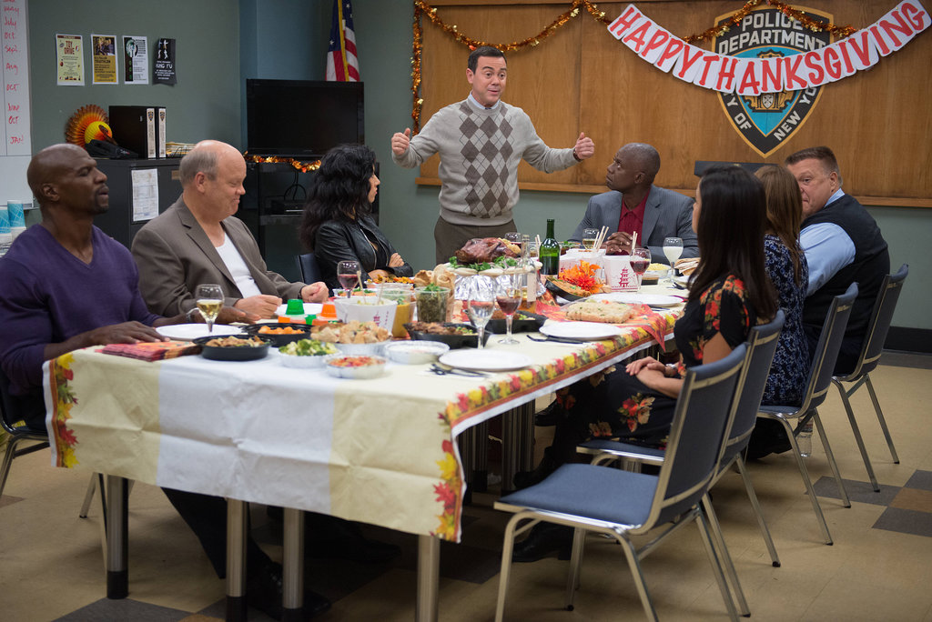 "Brooklyn Nine-Nine Terry Crews, Dirk Blocker, Chelsea Peretti, Joe Lo Truglio, Andre Braugher, Joel McKinnon Miller, and Melissa Fumero in Brooklyn Nine-Nine's ""Thanksgiving"" episode, airing Nov. 26 on Fox."