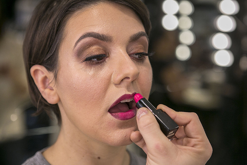 Next, Grant fills in the center part of the lip with Eurydice ($26), a bright pink, only focusing on the parts he didn't hit with Severity.  Source: Caroline Voagen Nelson