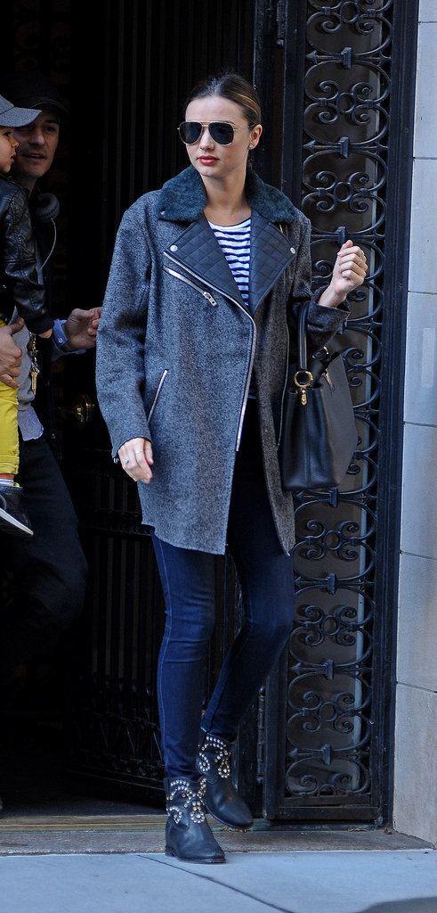 Miranda channeled a biker girl mentality in a quilted shearling coat and studded black boots.
