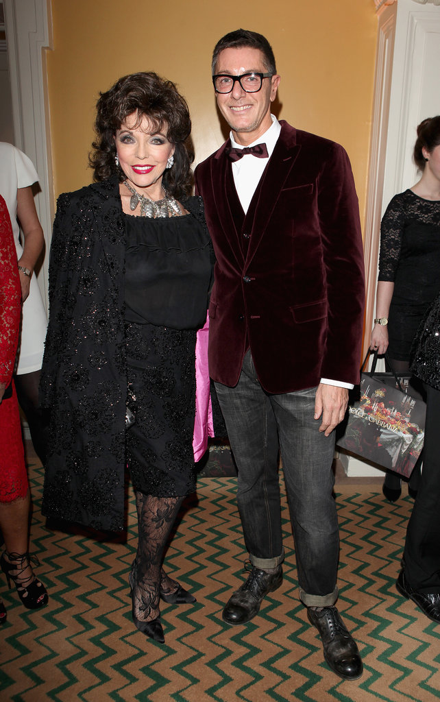 Joan Collins and Stefano Gabbana at Claridge's party for its Dolce & Gabbana Christmas Tree in London.