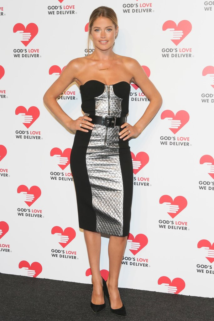 In the market for something ultrafestive and on the sexy side? Let Doutzen Kroes's metallic strapless be your guide.