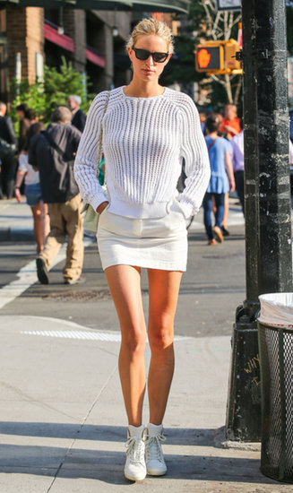Karolina Kurkova looked chic and sharp in an all-white ensemble while out and about in New York City.