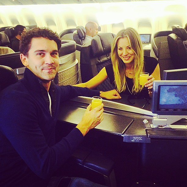 Kaley Cuoco and Ryan Sweeting enjoyed mimosas while traveling to their Thanksgiving destination. Source: Instagram user normancook