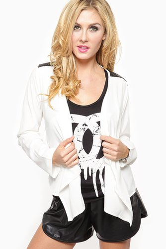 White Out Draped Moto Blazer