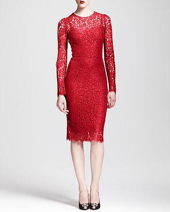 Dolce & Gabbana Long-Sleeve Lace Sheath Dress