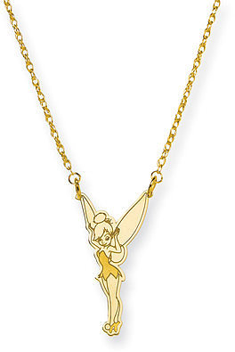 Jewelryweb Gold-plated SS Disney 18inch Tinker Bell Necklace
