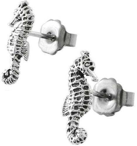 Tressa Sterling Silver Sea Horse Stud Earrings