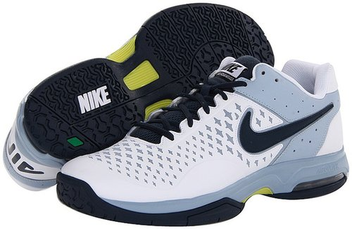 Nike - Air Cage Advantage (White/Light Armory Blue/Sonic Yellow/Armory Navy) - Footwear