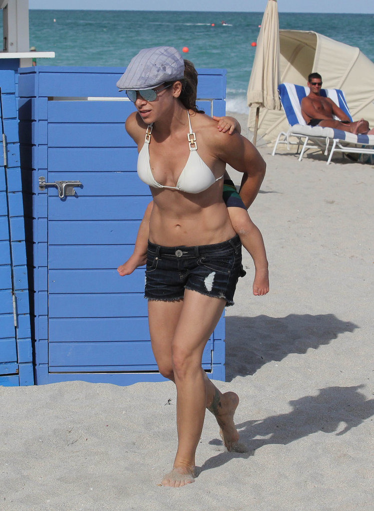 In May, fitness guru Jillian Michaels took her family to the beach in Miami.