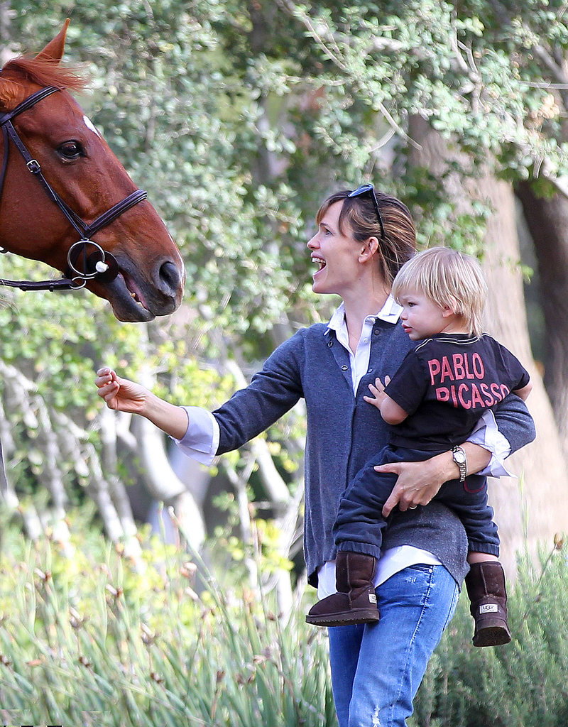Jennifer Garner and Samuel Affleck bonded with a horse in LA on Monday.