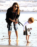 Jessica Alba and her daughter Haven played near the waves in Malibu on Sunday.