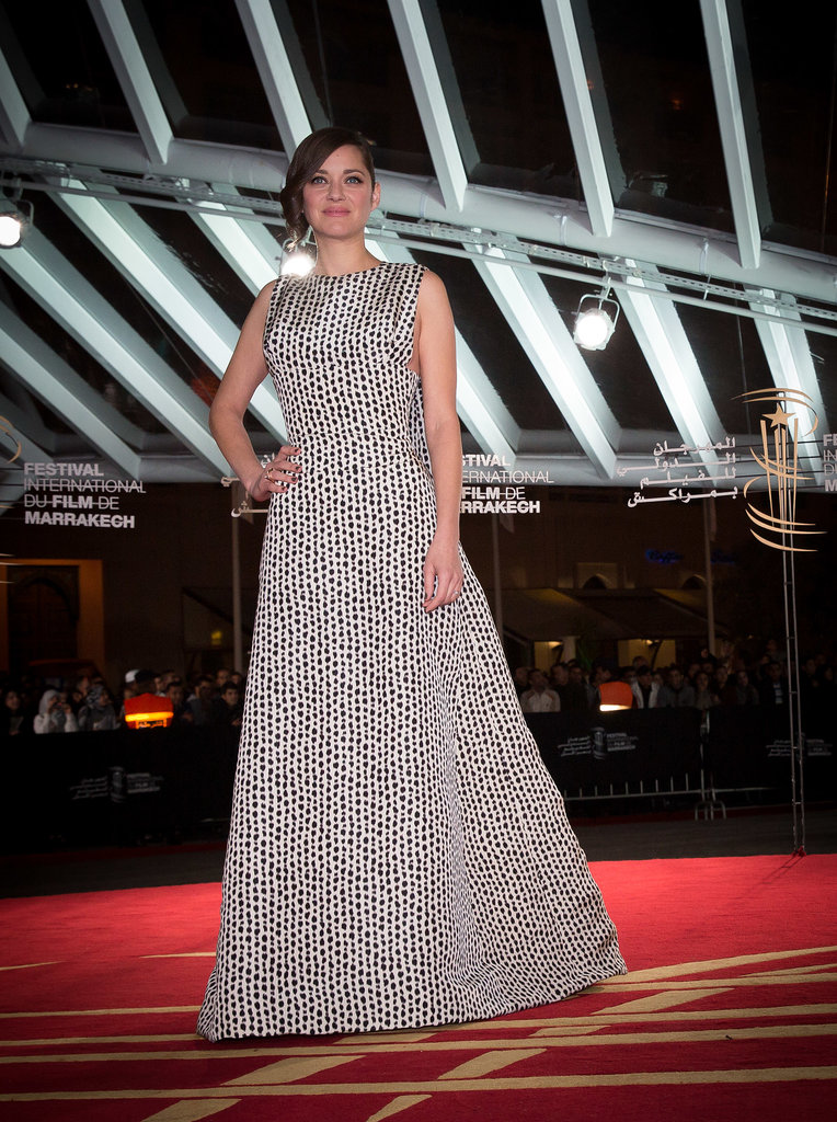 Marion Cotillard in Black and White Dior Haute Couture Gown