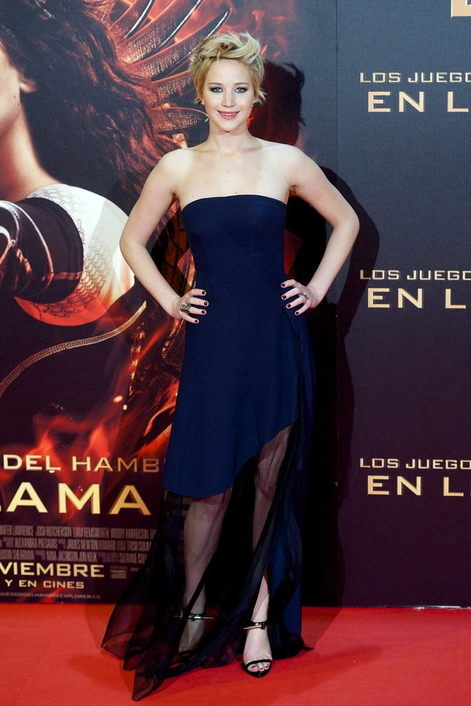 Jennifer Lawrence in Blue Dior Gown