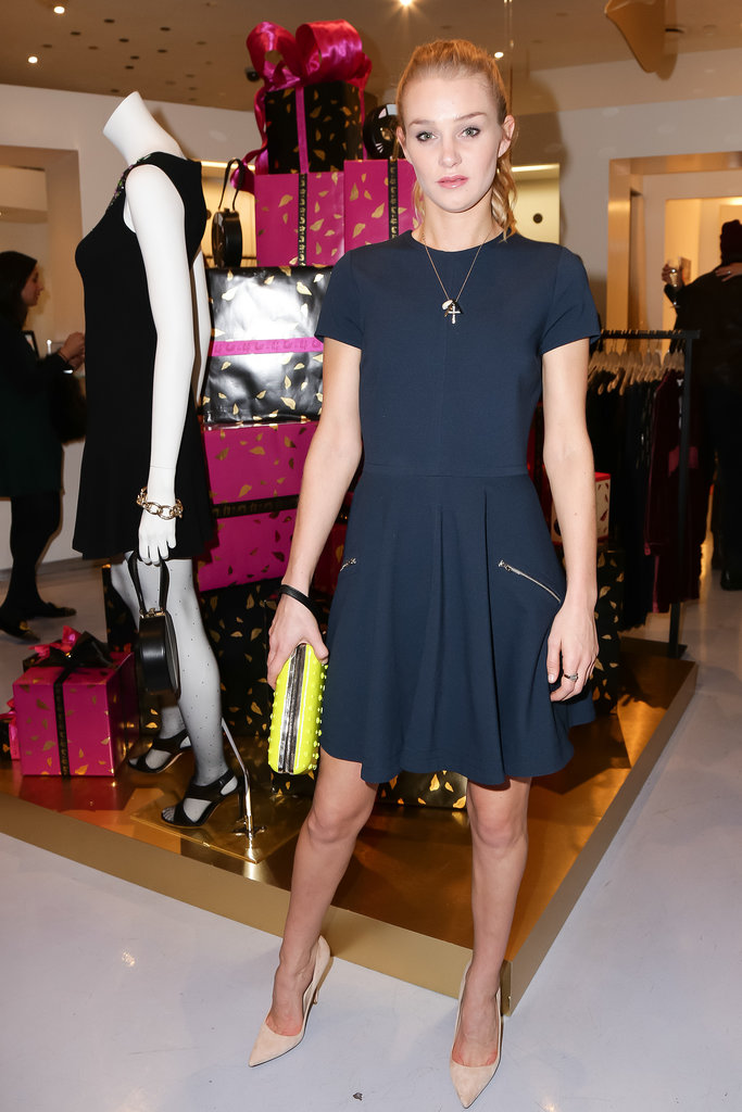 Elizabeth Gilpin in DVF at Diane von Furstenberg's holiday capsule collection launch.
