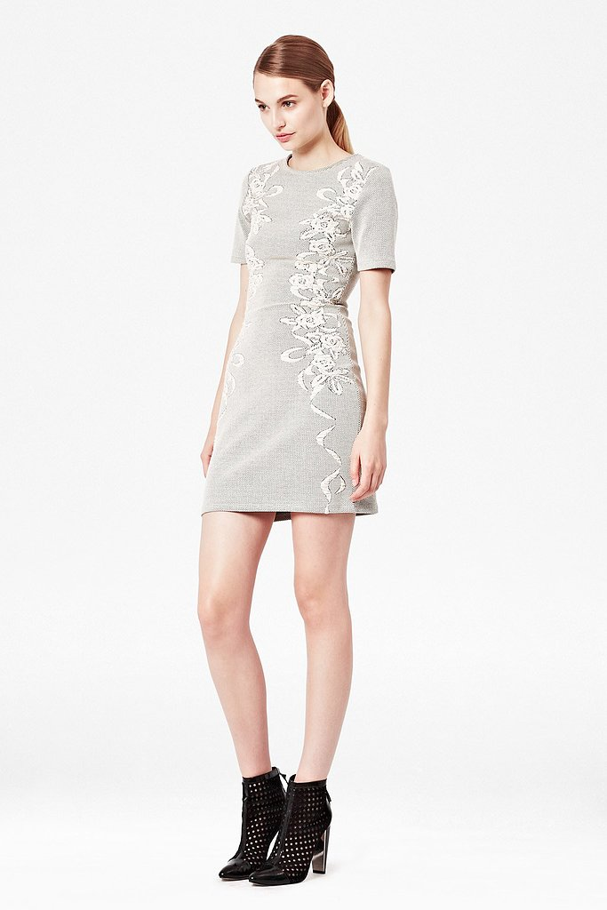 The muted colors on this French Connection Jocelyn Jacquard Dress ($148) make it perfect for dressing up with jewels.
