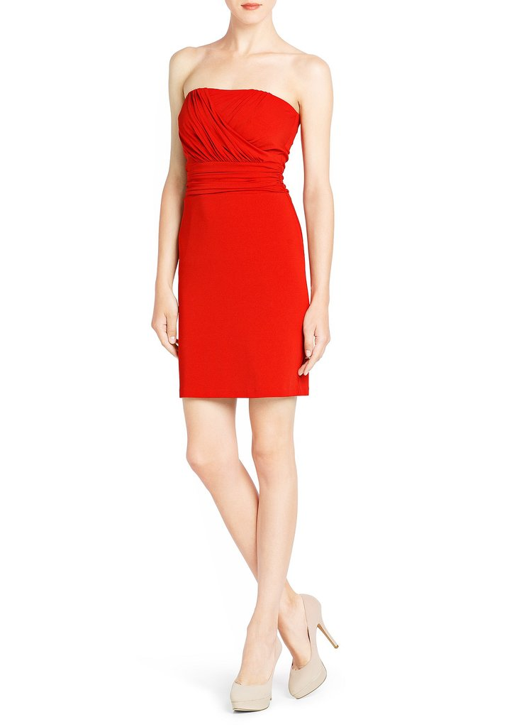 The gorgeous color on this Mango Draped Strapless Dress ($70) begs to be worn for a holiday evening out.