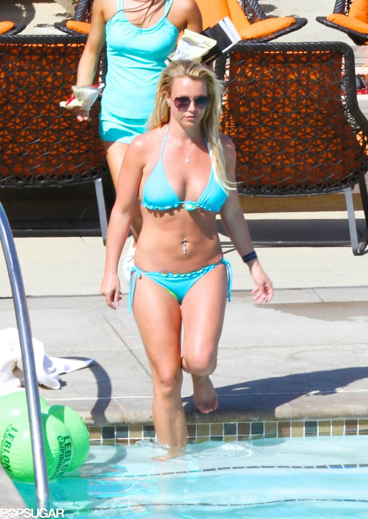 Britney Spears went bold in a blue bikini to dip in the pool in Rancho Palos Verdes, CA, in May.