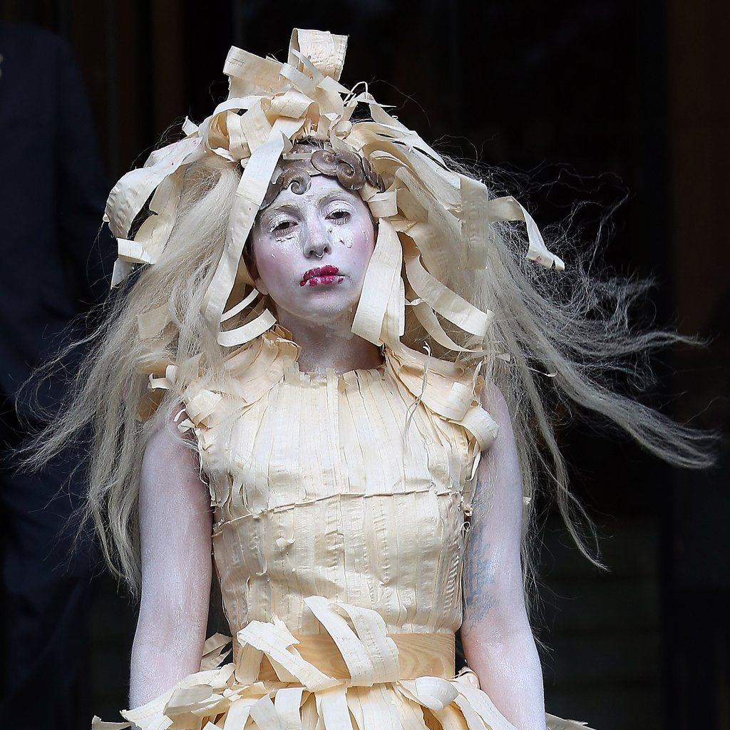 All the world's a stage, and Lady Gaga's wigs are merely props. Perhaps this was her Halloween look?