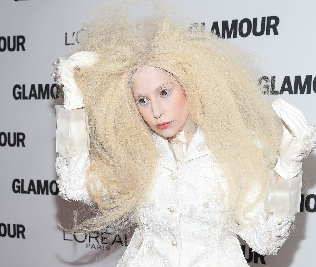This platinum wig was crimped into an Afro style for the Glamour Women of the Year Gala.
