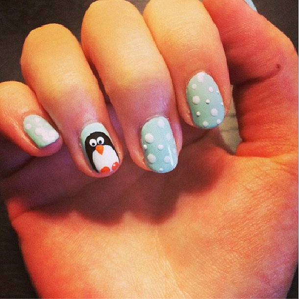 We couldn't resist trying a wintery manicure DIY. Source: Instagram user popsugarbeauty