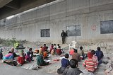 Underprivileged Indian Children Study Under a Bridge