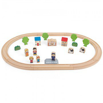 Tidlo Timeless Toys 29 Piece Wooden Train Set