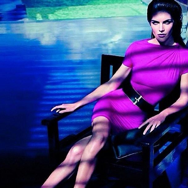 Don't call her a delicate flower! Hilary Rhoda rocked the Pantone color of the year, Radiant Orchid. Source: Instagram user hilaryhrhoda