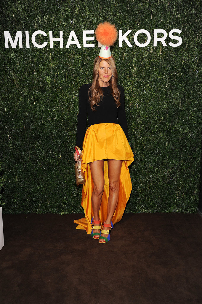 Anna Dello Russo in Michael Kors at the Michael Kors Milan cocktail party.