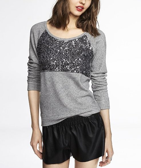 Who says you can't wear your sweatshirt to parties? This Express Color Block Sequin Embellished Sweatshirt ($50) is as festive as it is comfy.