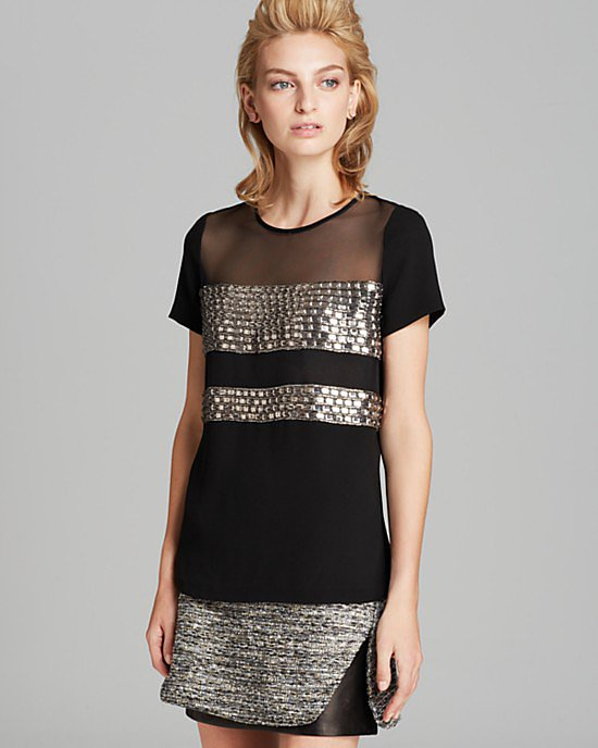 Worth the splurge, this Diane von Furstenberg Kayla Square Crystal Top ($398) would be just as appropriate for an elegant holiday affair tucked into a pencil skirt as it would be with ankle-crop jeans and metallic pumps.