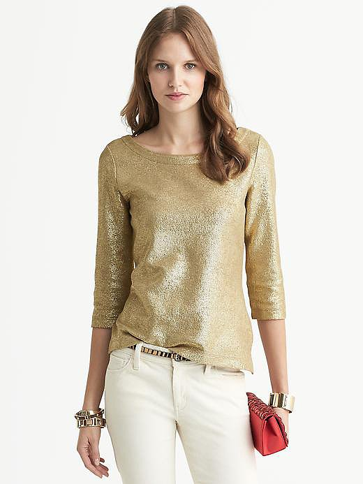Turn heads at your office party and beyond in this Banana Republic Metallic Pullover ($70).