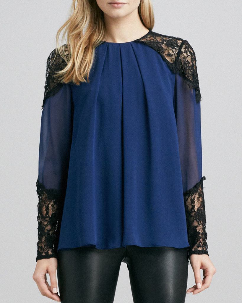 We love the romantic feel of this Alice + Olivia Danyelle Lace Trim Top ($297).