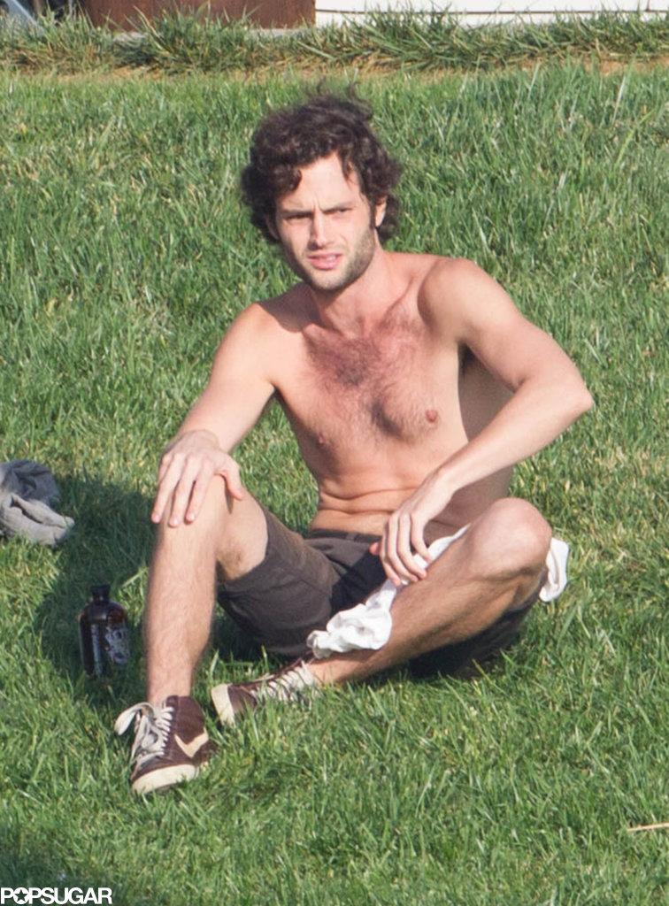 Penn Badgley lounged shirtless in LA in October.