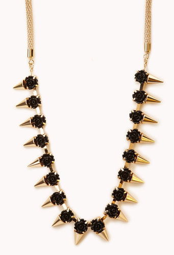 FOREVER 21 Spiked Rosette Necklace