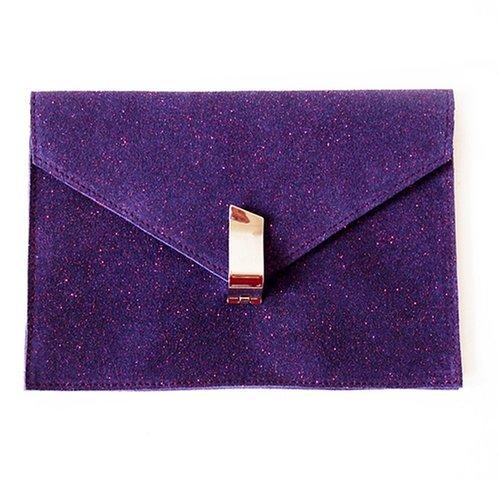 Clutch - Suede Leather - Sparkling Purple