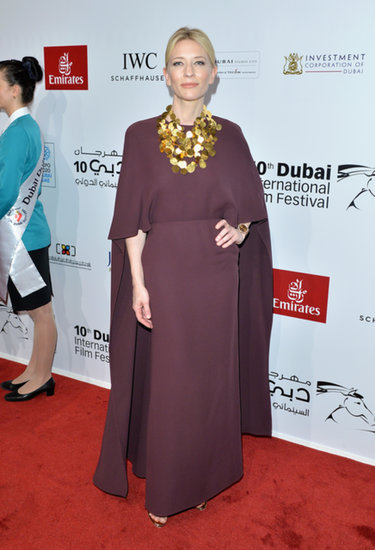 For the Opening Night Gala of the Dubai International Film Festival, Cate Blanchett arrived in a bold silhouette from Valentino's Spring 2014 collection. As if the plum design wasn't dramatic enough on its own, she dared to add a statement necklace — and we approve.