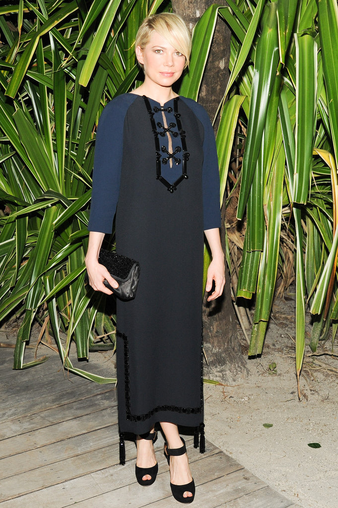 No wonder Michelle Williams is the face of Louis Vuitton! At the label's Miami dinner, she proved that she can do no wrong in the designs, whether it's one that fits her demure style or a more unexpected choice like this caftan.