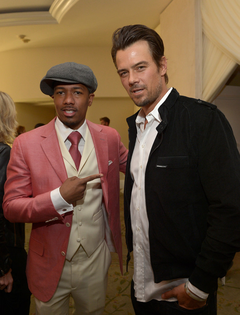 Josh Duhamel chatted with Nick Cannon at the luncheon.