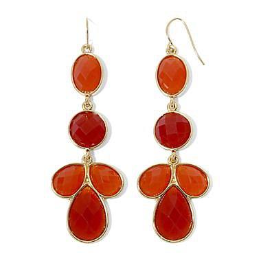 Burnt Orange Linear Drop Earrings