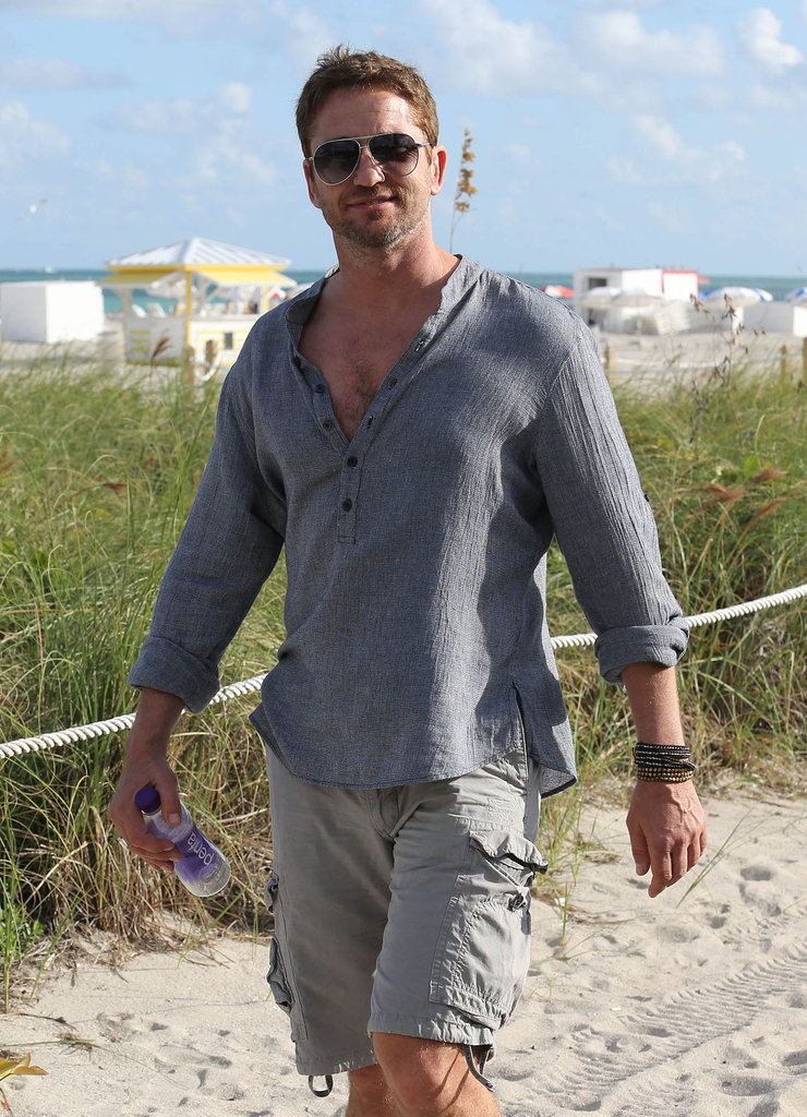 Gerard Butler took a stroll on the beach on Thursday.