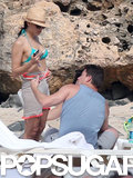 Channing Tatum and Jenna Dewan chatted on the beach.