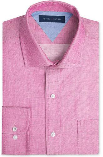 Tommy Hilfiger Dress Shirt, Slim-Fit Unsolid Solid Long-Sleeved Shirt